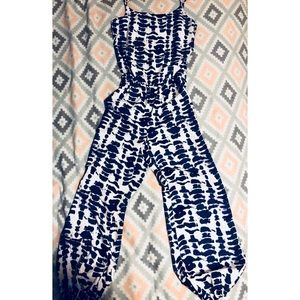 Pants - Blue and white jumpsuit